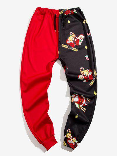 Navidad Santa Claus Imprimir Contraste Pantalones Cortos - Rojo M