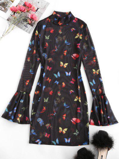 Flare Ärmel Netz Schmetterlingdruck Bodycon Kleid - Schwarz M