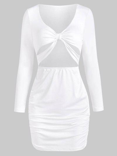 Knot Cutout Long Sleeve Bodycon Dress - White S