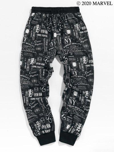 Marvel Spider-Man Graphic Pattern Jogger Sweatpants - Black 2xl