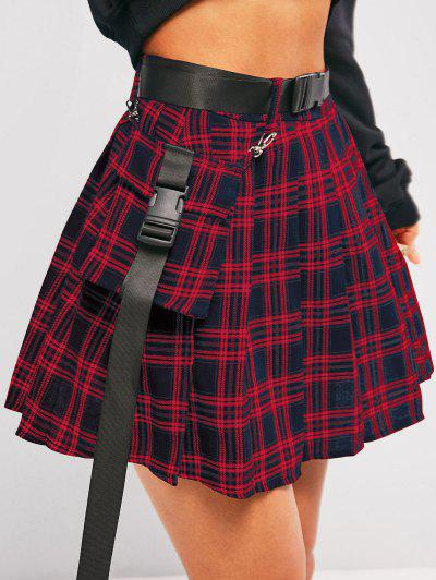 ZAFUL Plaid Pleated Detachable Pocket Mini Skirt - Deep Blue S