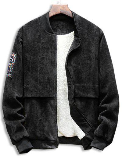 Graphic Zip Up Fleece Lined Corduroy Jacket - Black S