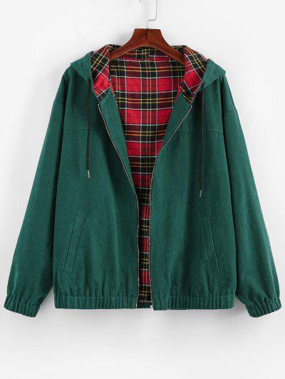 ZAFUL Hooded Plaid Print Reversible Jacket - Medium Sea Green L