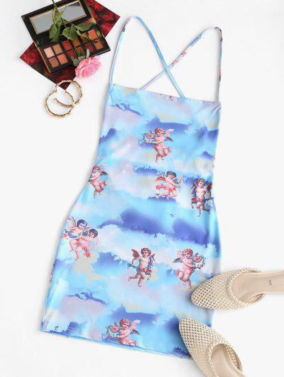 Angel Print Lace Up Renaissance Art Mini Dress - Light Blue M