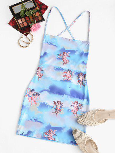 Angel Print Lace Up Renaissance Art Mini Dress - Light Blue L