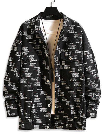 Button Up Letter Graphic Flap Pockets Shacket - Black M