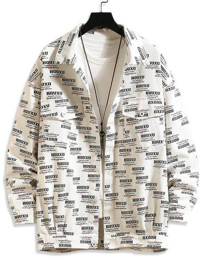 Button Up Letter Graphic Flap Pockets Shacket - White M