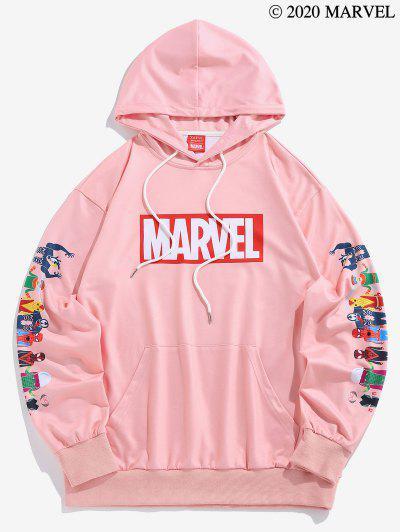 Marvel Spider-Man Spider-Girl Venom Print Kangaroo Pocket Hoodie - Light Pink L