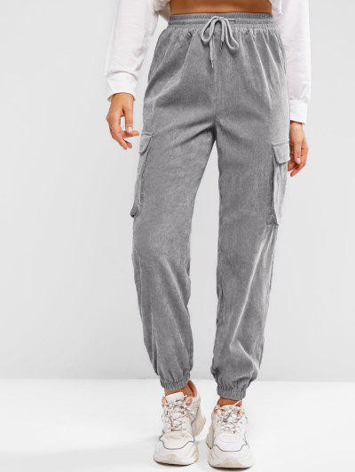 ZAFUL Pockets Drawstring Corduroy Pants - Light Gray M