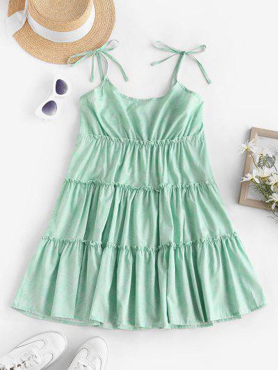Tie Leaf Print Smocked Back Tiered Sundress - Light Green L