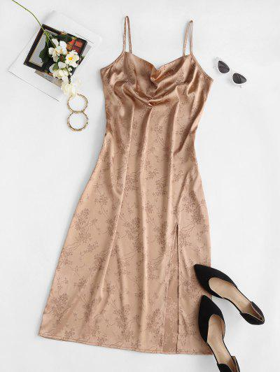 ZAFUL Cowl Front Jacquard High Slit Party Dress - Champagne Gold L