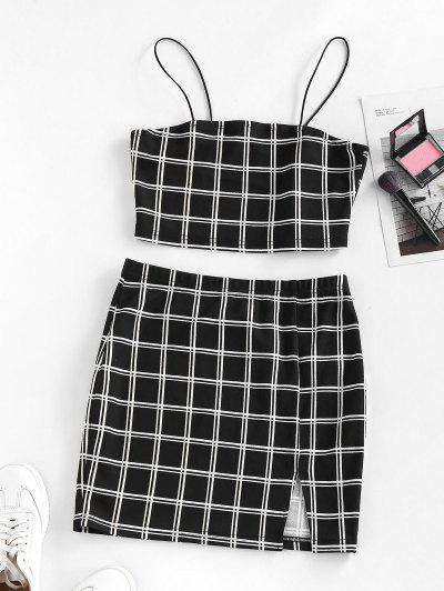 ZAFUL Windowpane Check Slit Mini Skirt Set - Black M