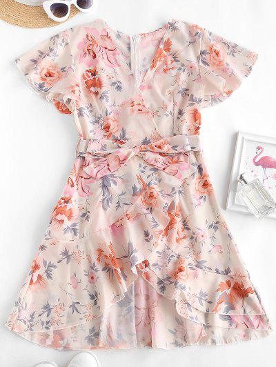 Floral Ruffles Belted Flutter Sleeve Surplice Dress - Multi S