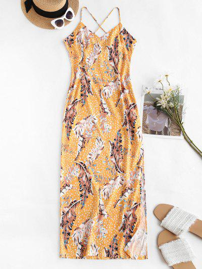 Spaghetti Strap Leaf Print Side Slit Slinky Maxi Dress - Deep Yellow M