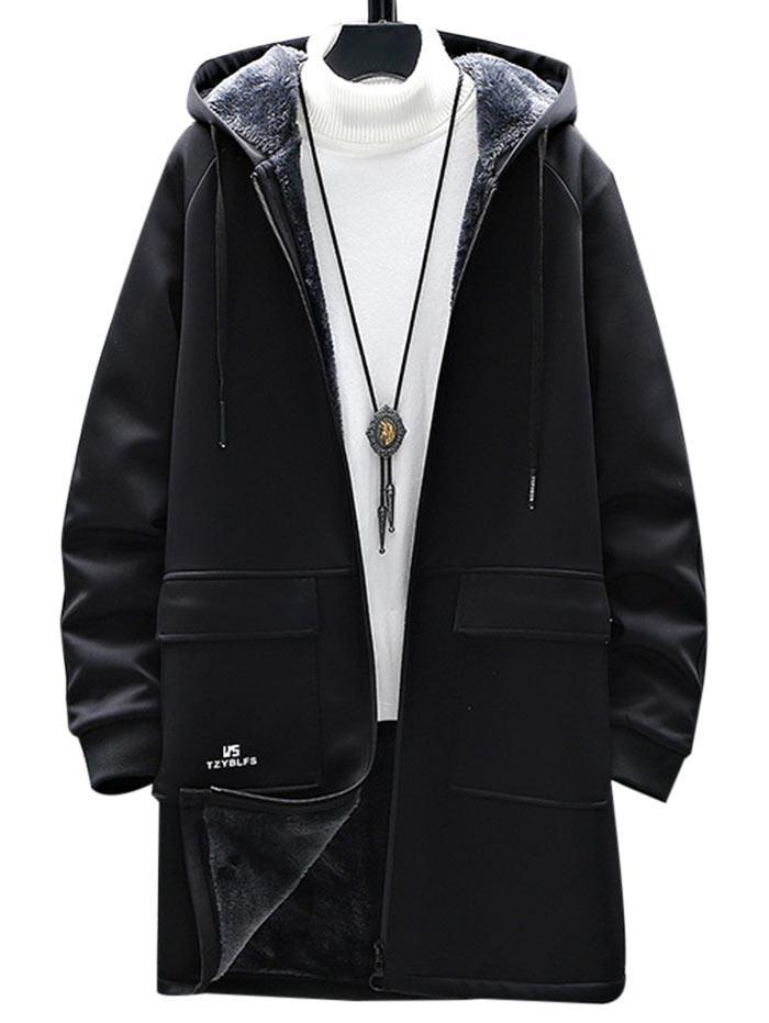 Manteau à Capuche Slogan Graphique Zippé à Doublure en Laine - ZAFUL - Modalova