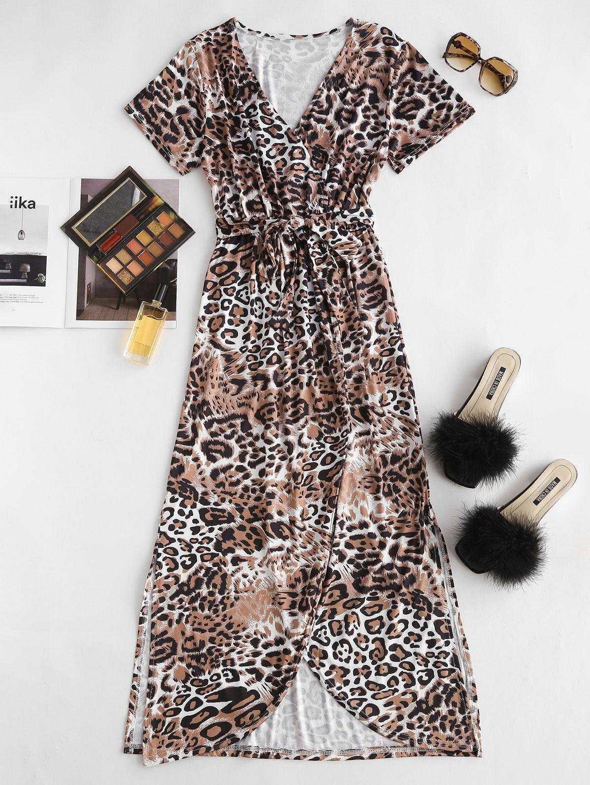 Leopard High Slit Belted Maxi Surplice Dress