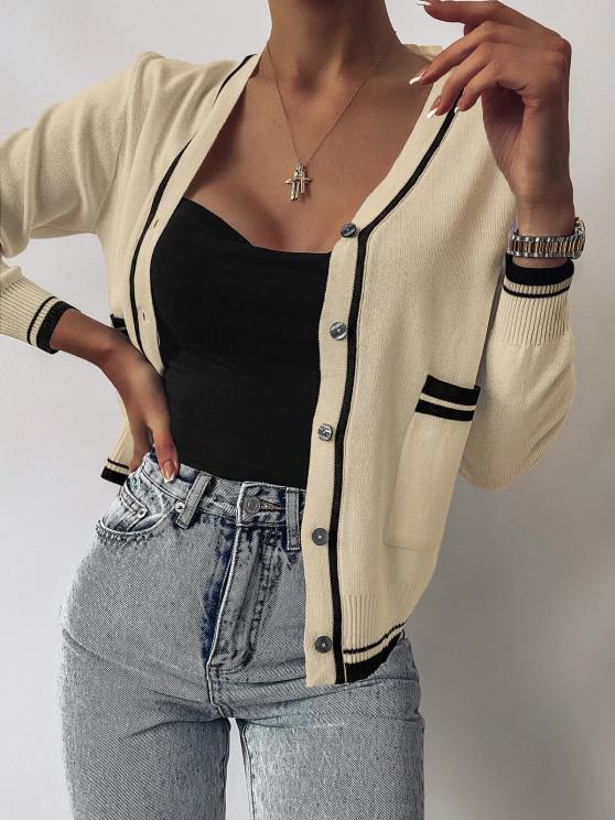 Plunge Contrast Knit Pocket Cardigan - القهوة الخفيفة حجم واحد