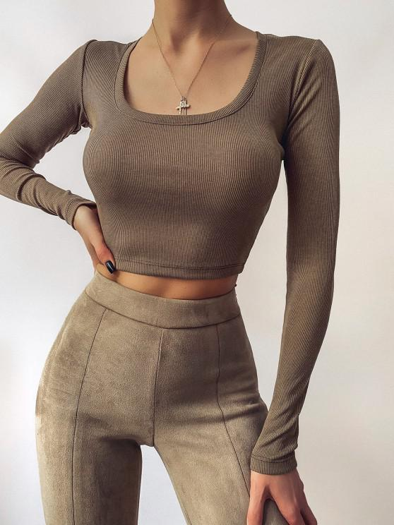 fashion U Neck Ribbed Long Sleeve Top - COFFEE M