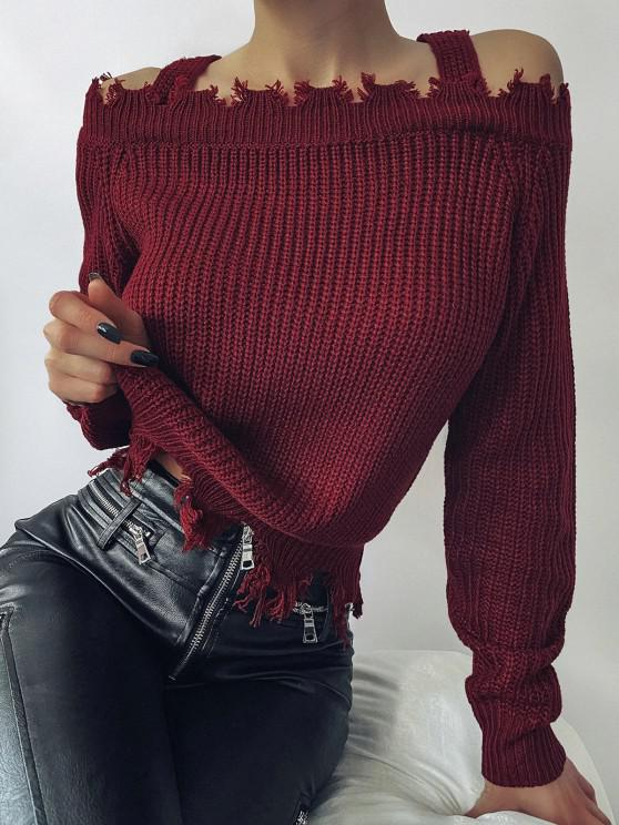 lady ZAFUL Frayed Cold Shoulder Jumper Sweater - DEEP RED S