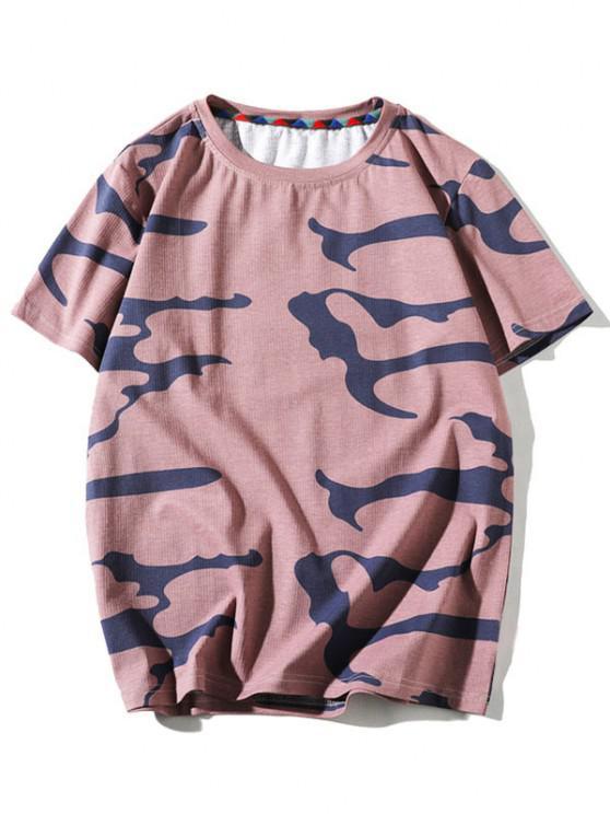 T-Shirt mit Kurzen Ärmeln und Tarnmuster - Pink S