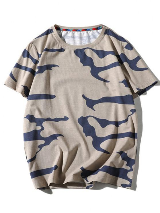 new Camo Printed Short Sleeves T-shirt - TAN XS