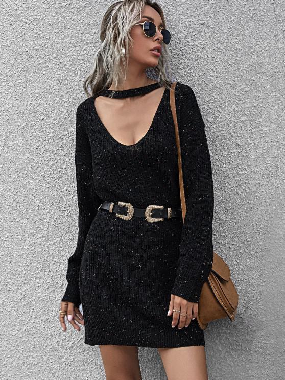 chic Confetti Drop Shoulder Choker Sweater Dress - BLACK M