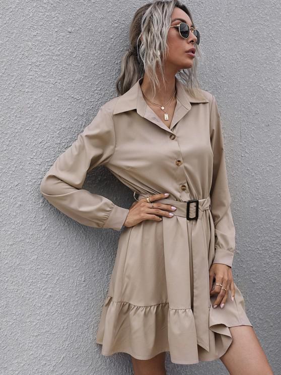 womens Half Button Belted Flounce Shirt Dress - LIGHT COFFEE S