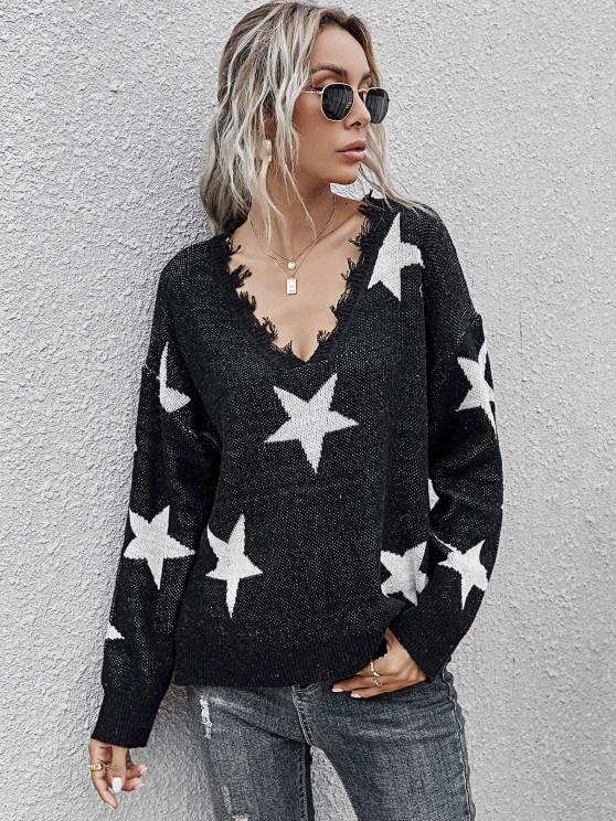 Star Side Slit Distressed V Neck Sweater - أسود L