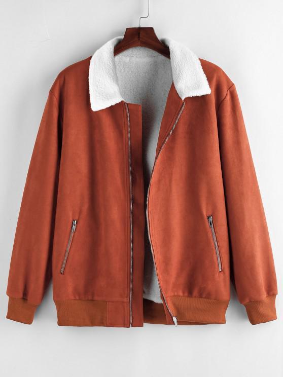 ladies ZAFUL Faux Shearling Lined Zip Up Jacket - DARK ORANGE L