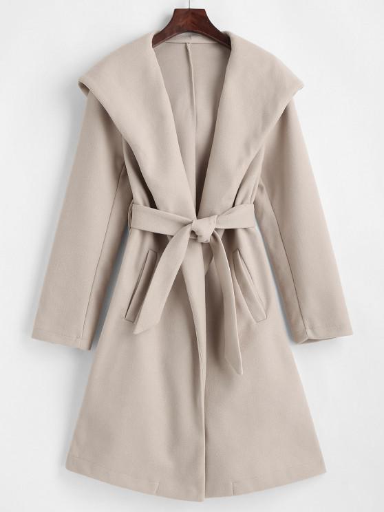 shop Hooded Belted Pockets Wool Blend Coat - LIGHT COFFEE S