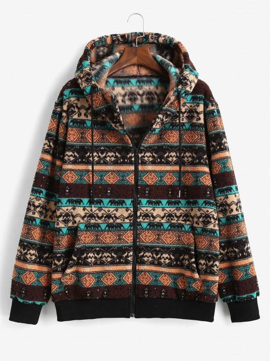 latest ZAFUL Tribal Pattern Hooded Fleece Jacket - DEEP COFFEE S