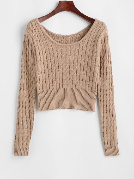 Gerippter Strick Pullover mit Rundhalsausschnitt und Bündchen - Licht Kaffee Eine Größe