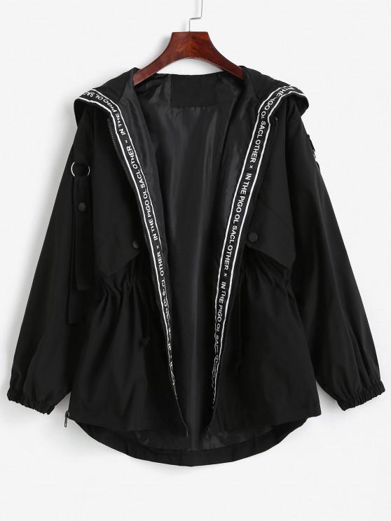 ladies Hooded Zippered Pockets Cargo Jacket - BLACK XL