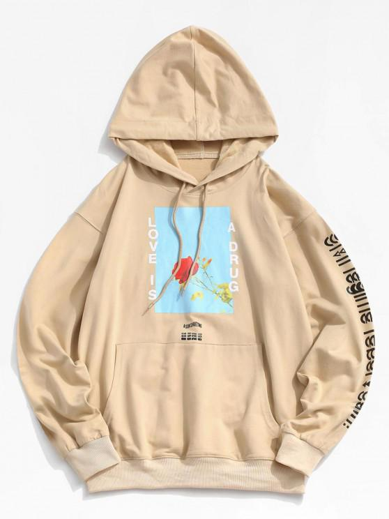 womens Love is A Drug And Rose Pattern Hoodie - LIGHT KHAKI 2XL