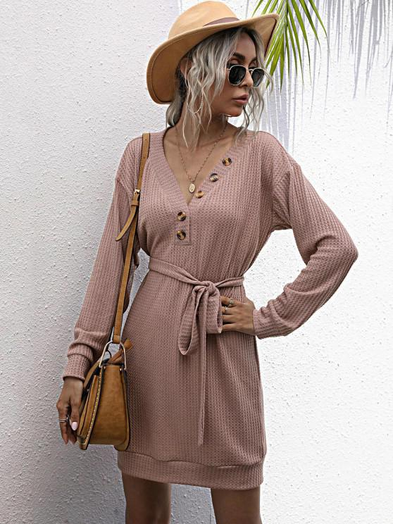 fashion Long Sleeve Button Front Belted Mini Dress - LIGHT PINK M