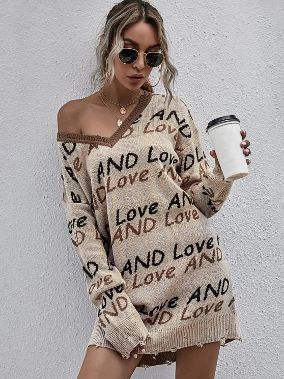 fancy Lettering Graphic Distressed V Neck Sweater Dress - LIGHT COFFEE L