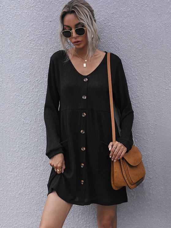 women Ribbed Mock Button Pocket Mini Dress - BLACK S