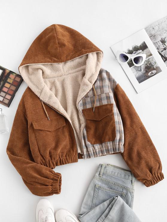 best Hooded Fluffy Lined Herringbone Plaid Panel Corduroy Jacket - COFFEE S