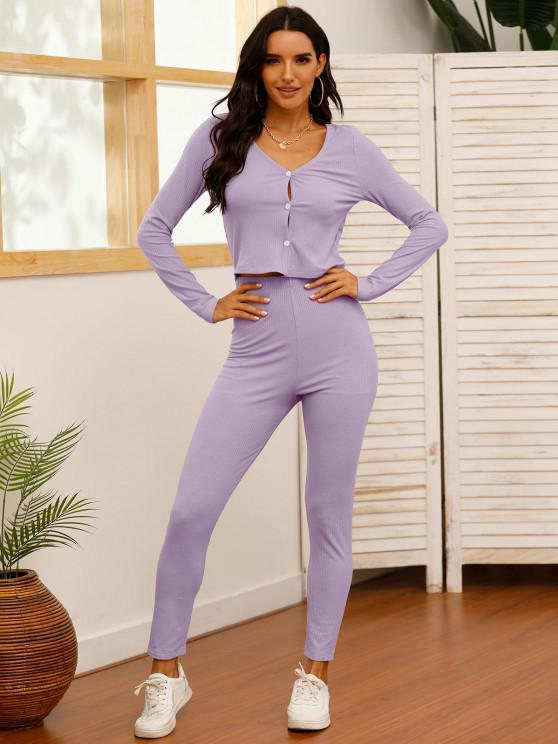 trendy Solid Ribbed Button Up Two Piece Set - LIGHT PURPLE XL