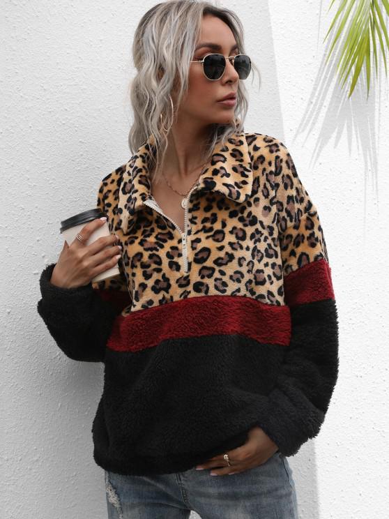 best Half Zip Leopard Colorblock Fluffy Sweatshirt - MULTI M