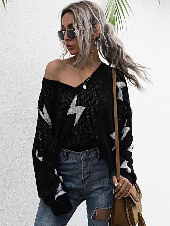 sale Drop Shoulder Lightning Pattern Frayed Oversized Sweater - BLACK S