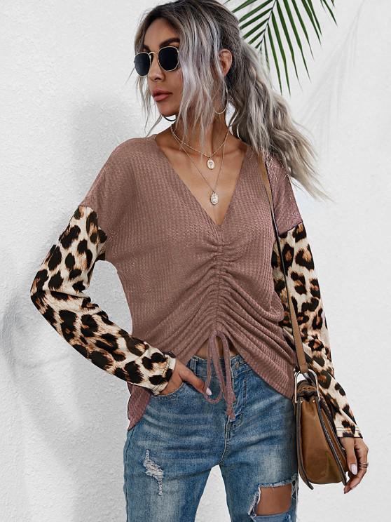 buy V Neck Leopard Sleeve Cinched Front Knitwear - LIGHT PINK L