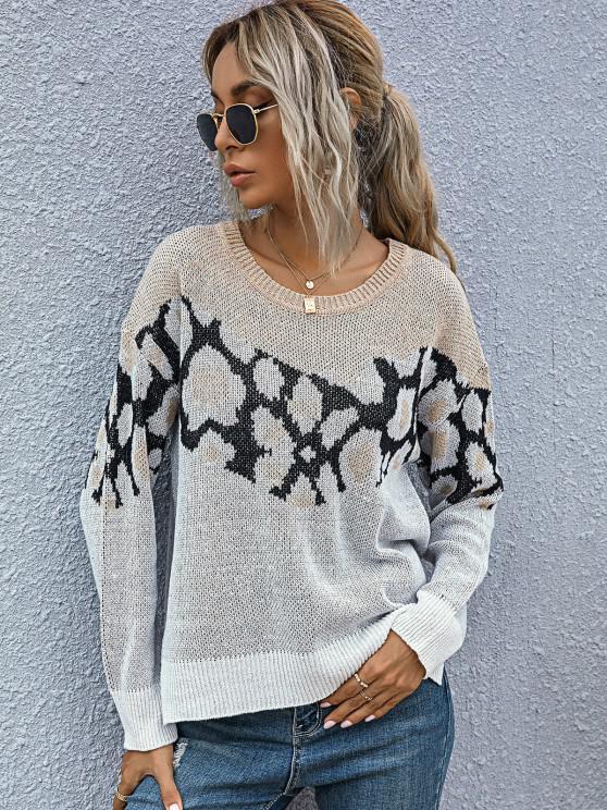 Suéter Alto-Baixo com Corte Lateral e Costura Baixa Leopardo - Multi S