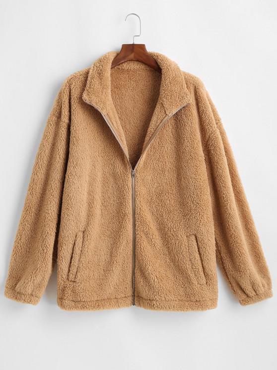 lady Zip Up Slash Pockets Fluffy Jacket - COFFEE L