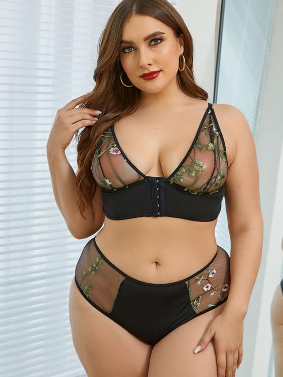 hot Plus Size Plant Embroidered Front Closure Mesh Panel Lingerie Set - BLACK 1XL