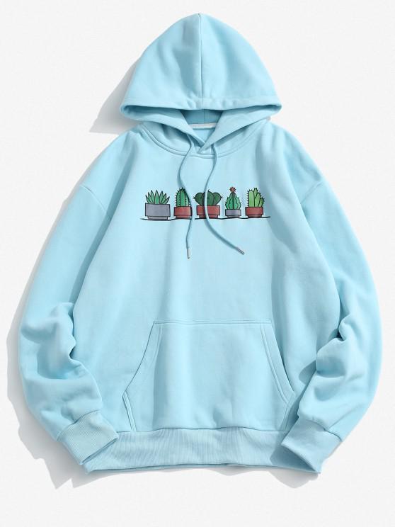 Cactus Print Kangaroo Pocket Fleece Hoodie - أزرق فاتح 2XL
