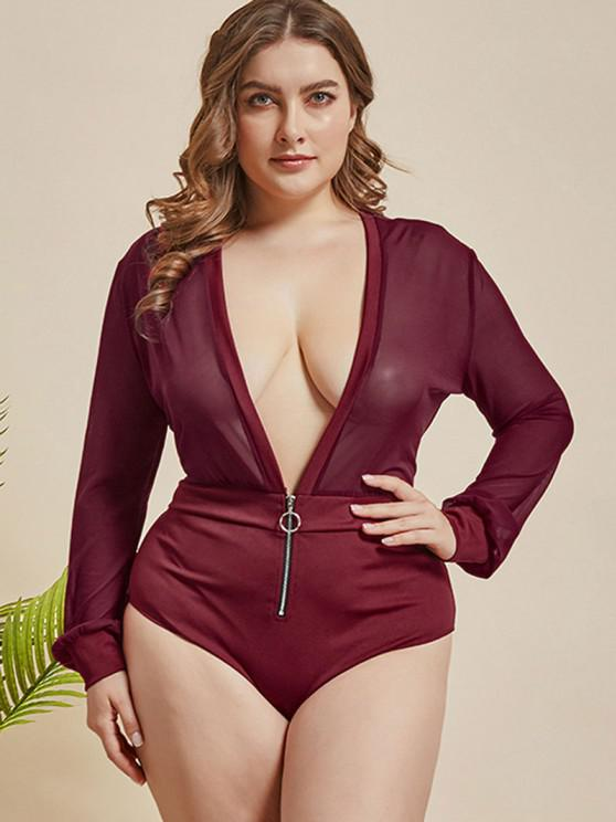 affordable Plus Size Plunge Mesh Panel Half-zip Bodysuit - RED 4XL