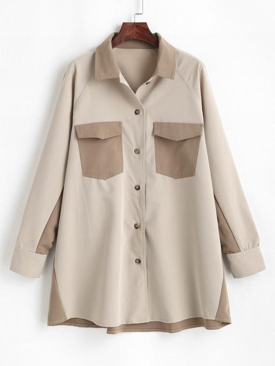 Two Tone Flap Pockets Longline Shirt - القهوة الخفيفة L