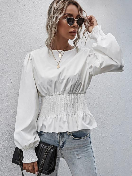 buy Smocked Peplum Hem Solid Blouse - WHITE L