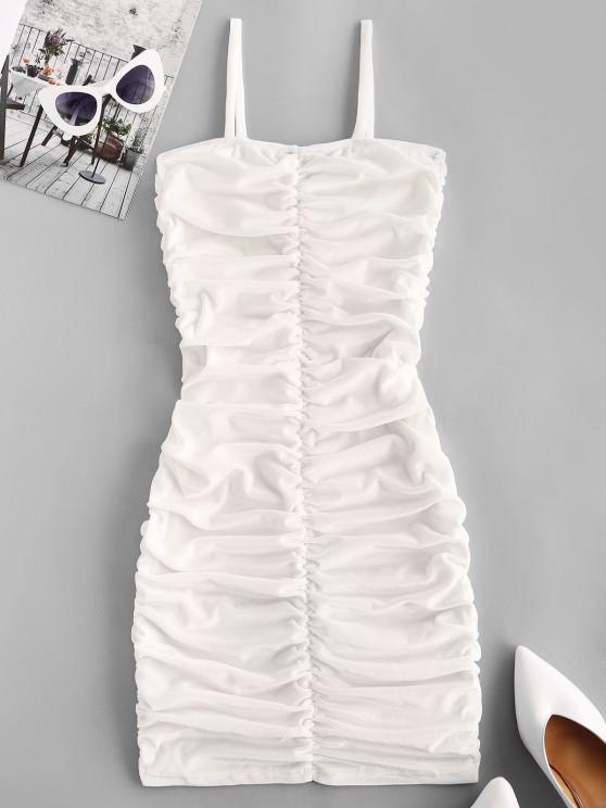 buy Ruched Velvet Bodycon Going Out Cami Dress - WHITE M